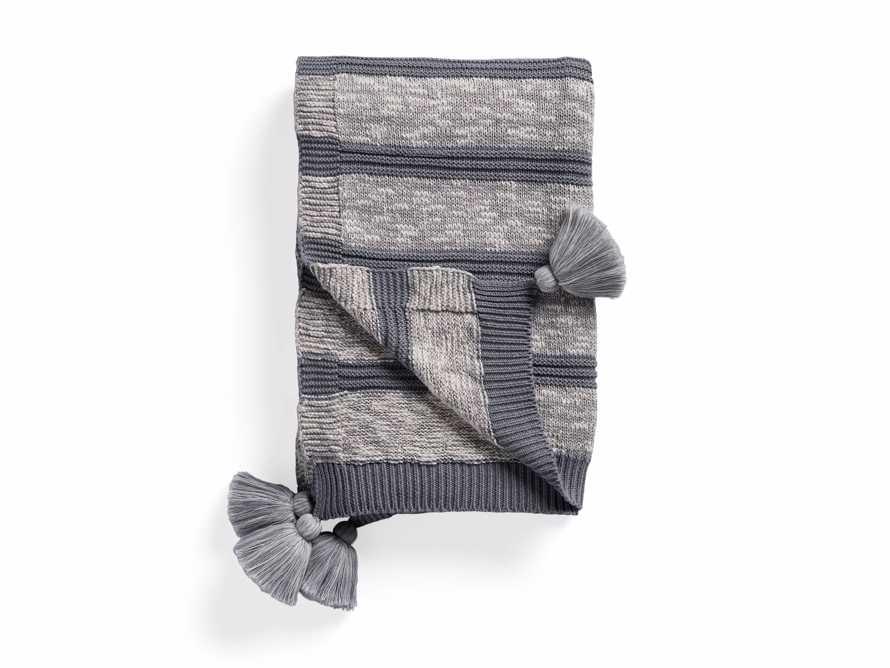 Grey Striped Knit Pom Pom Throw