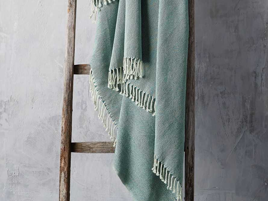 Herringbone Throw in Teal, slide 1 of 5