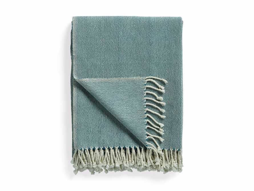 Herringbone Throw in Teal, slide 4 of 5