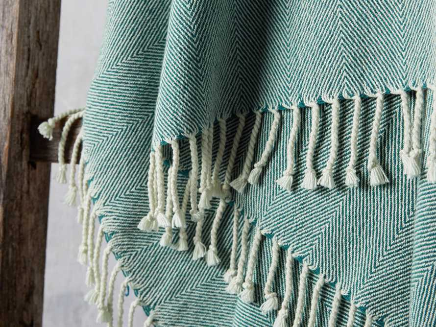 Herringbone Throw in Teal, slide 3 of 5