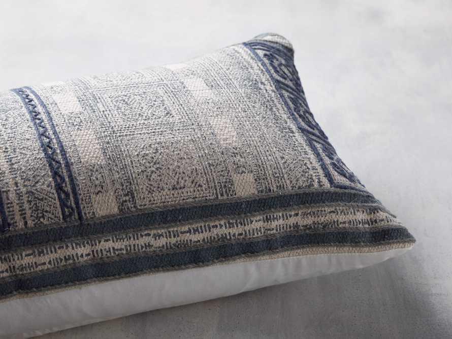 """Indigo-Embroidered Antique-Print 14"""" x 36"""" Lumbar Pillow"""