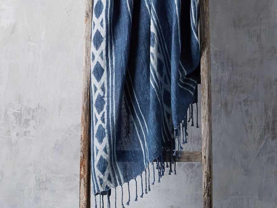 Indigo Batik Linen Throw, slide 1 of 5
