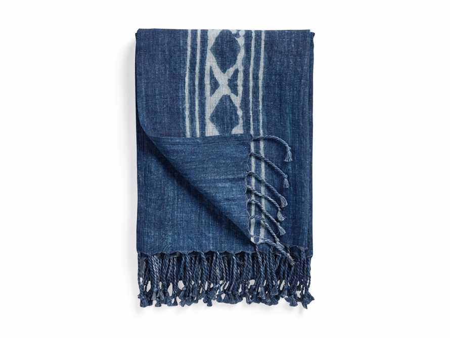 Indigo Batik Linen Throw, slide 4 of 5
