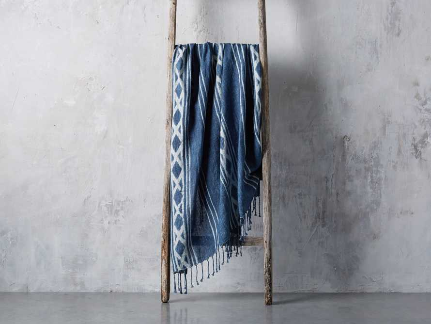 Indigo Batik Linen Throw, slide 2 of 5