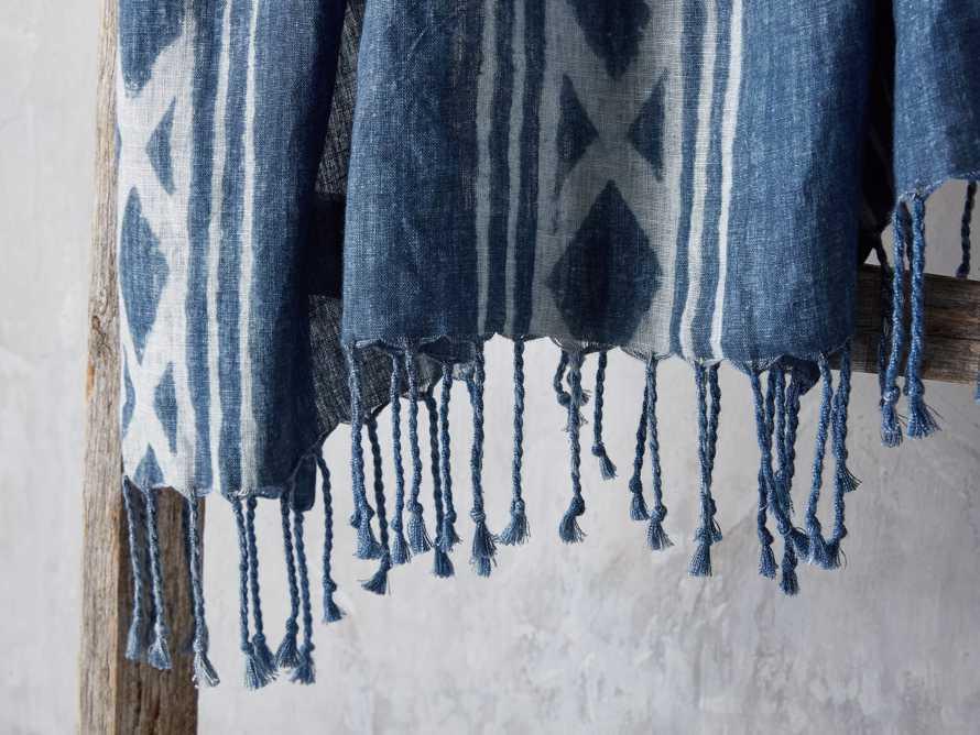 Indigo Batik Linen Throw, slide 3 of 5