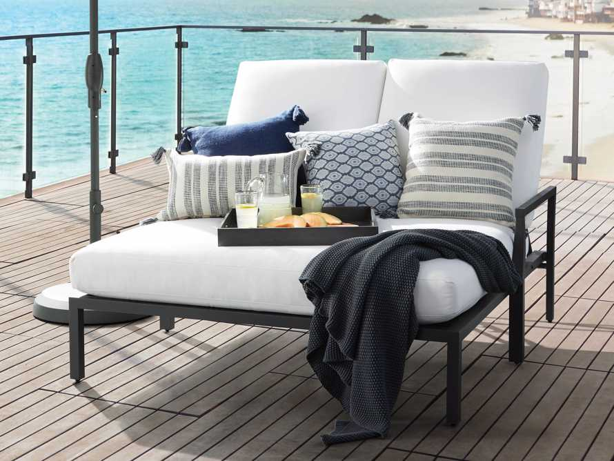 Ingleside Striped Outdoor Lumbar Pillow in Blue, slide 4 of 7