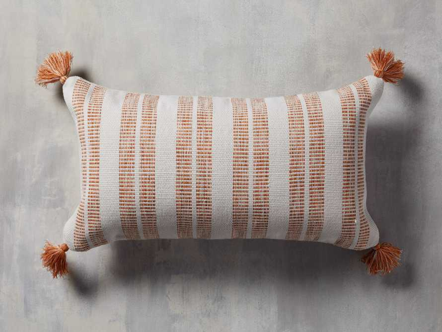 Ingleside Striped Outdoor Lumbar Pillow in Terracotta, slide 1 of 5