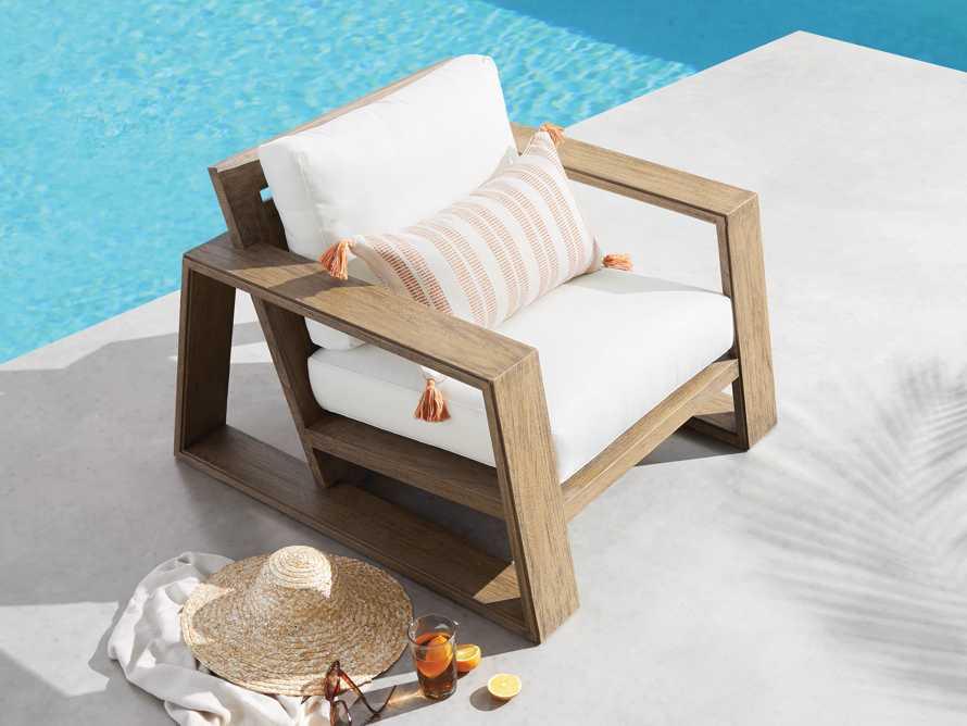 Ingleside Striped Outdoor Lumbar Pillow in Terracotta, slide 3 of 5