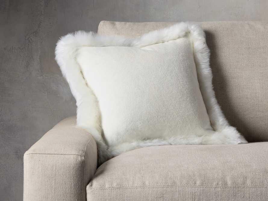 Alpaca Border Pillow in Ivory, slide 1 of 3