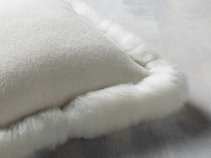 Alpaca Border Pillow in Ivory, slide 2 of 3