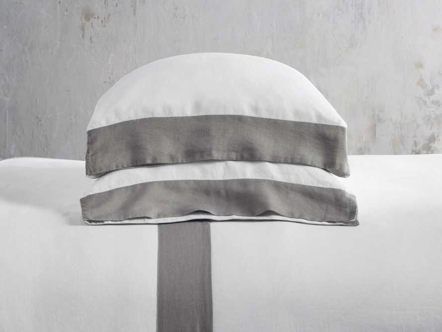 Standard Italian Linen Border Pillow Case in Charcoal, slide 2 of 3