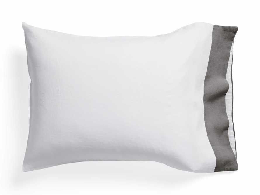 Standard Italian Linen Border Pillow Case in Charcoal, slide 1 of 3