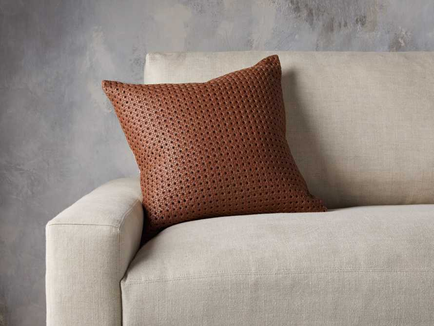 Leather Honeycomb Pillow Cover in Tan, slide 4 of 5