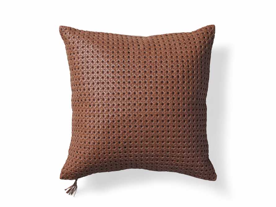 Leather Honeycomb Pillow Cover in Tan, slide 5 of 5