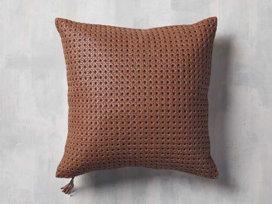 Leather Honeycomb Pillow Cover in Tan, slide 1 of 5