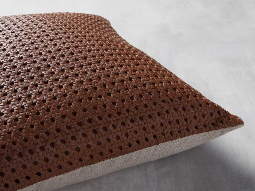 Leather Honeycomb Pillow Cover in Tan, slide 3 of 5