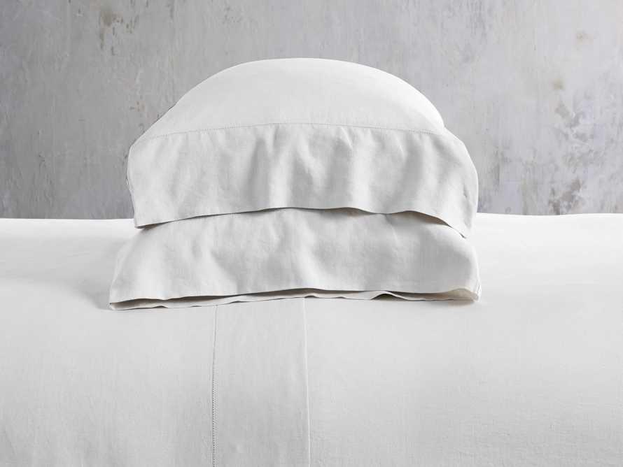 Queen Italian Linen Hemstitch Sheet Set in White, slide 1 of 5