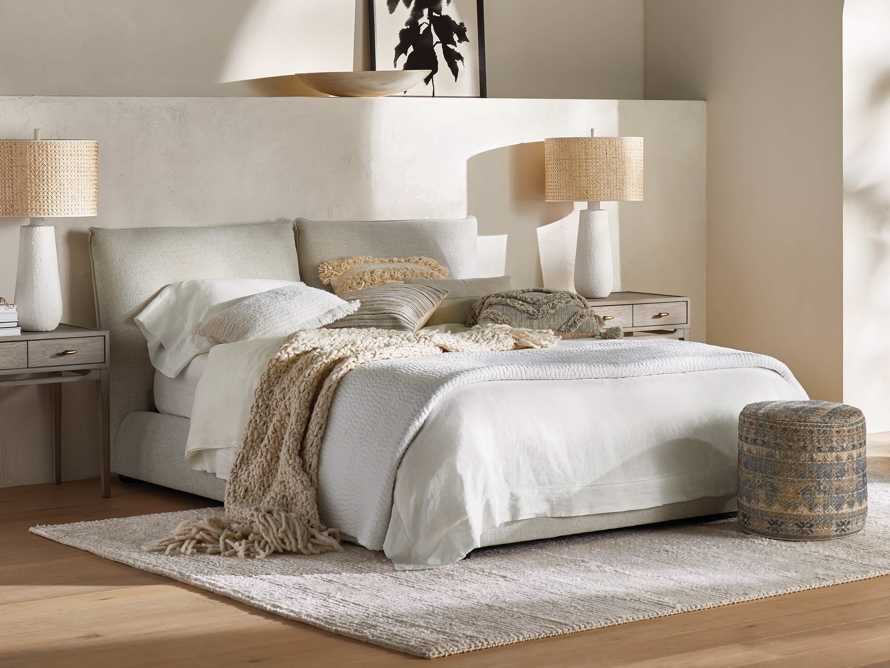 Queen Italian Linen Hemstitch Sheet Set in White, slide 6 of 7