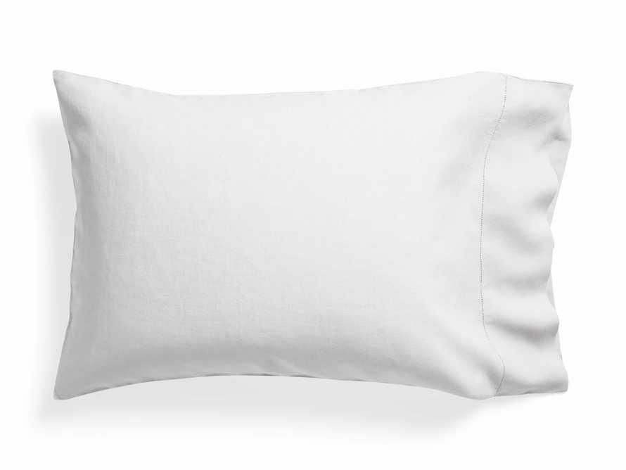 Standard Italian Linen Hemstitch Pillow Case in White, slide 1 of 6
