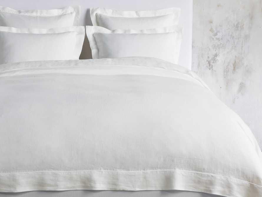 Queen Italian Linen Hemstitch Duvet Cover in White, slide 1 of 6
