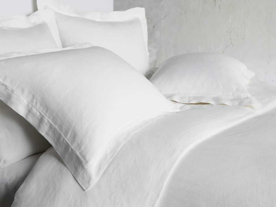 Queen Italian Linen Hemstitch Duvet Cover in White, slide 2 of 6