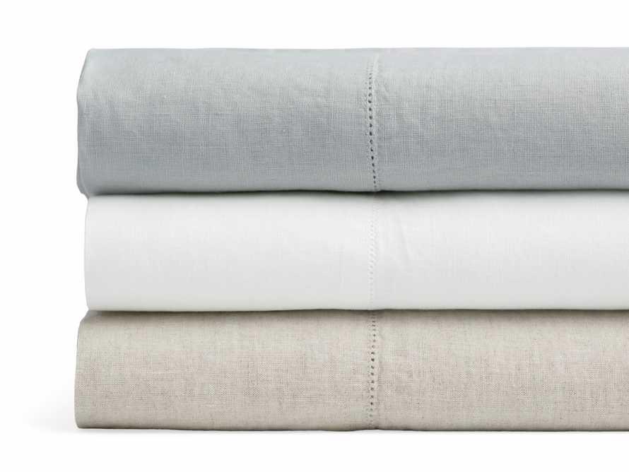 Queen Italian Linen Hemstitch Duvet Cover in White, slide 3 of 6