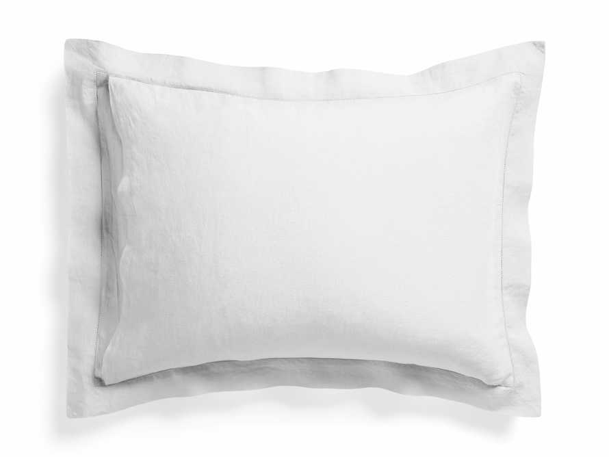 Standard Italian Linen Hemstitch Shams in White, slide 3 of 7