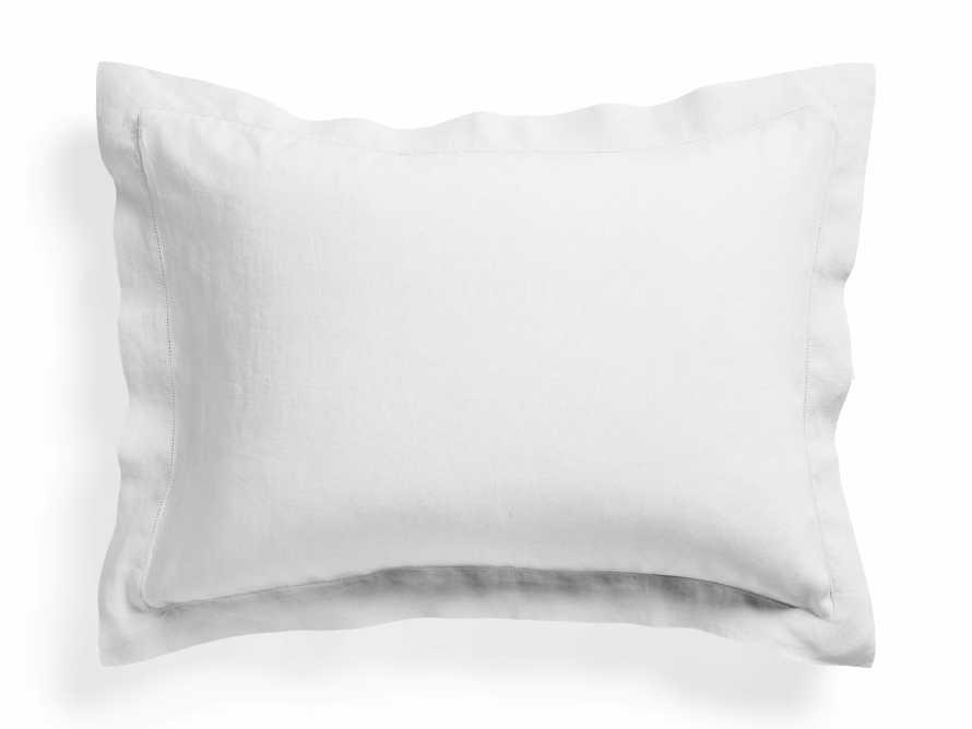 Standard Italian Linen Hemstitch Shams in White, slide 1 of 7