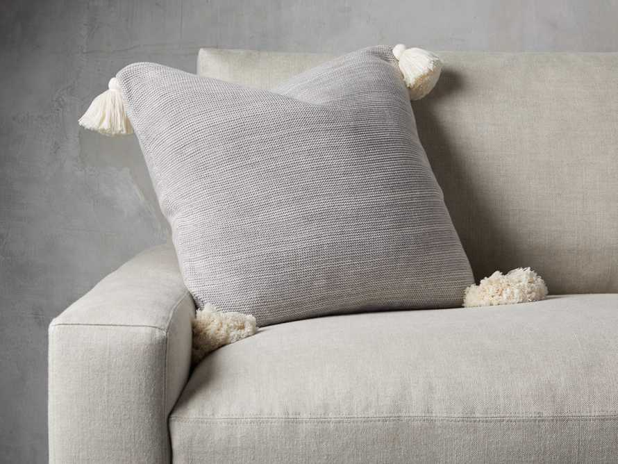 Knit Pom Pom Pillow in Marled Grey, slide 1 of 3