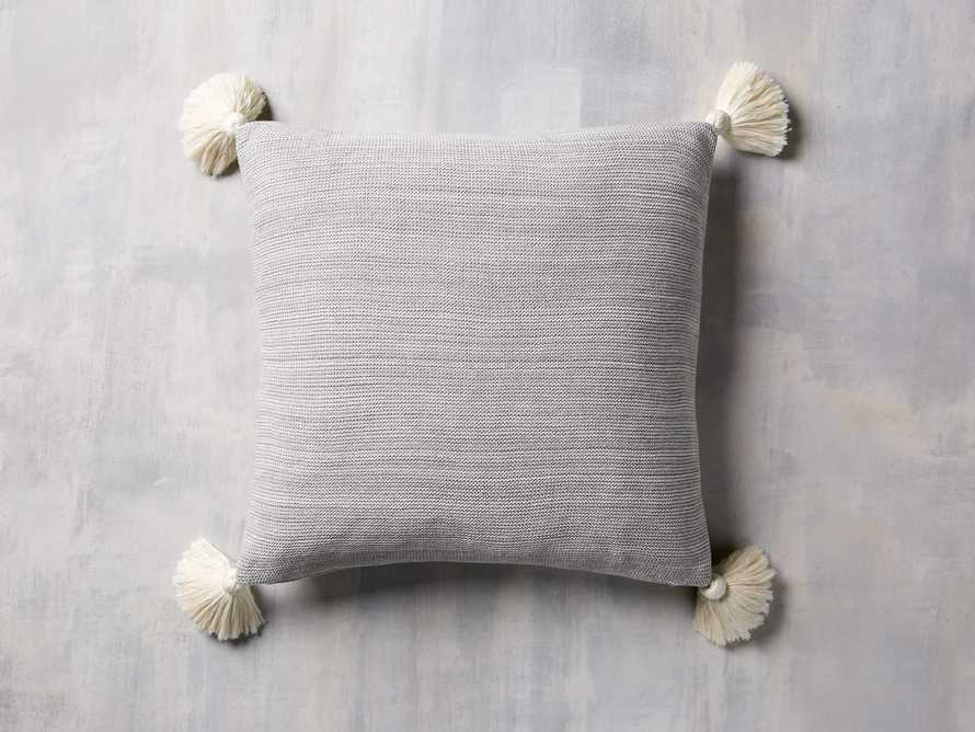 Knit Pom Pom Pillow in Marled Grey, slide 2 of 3