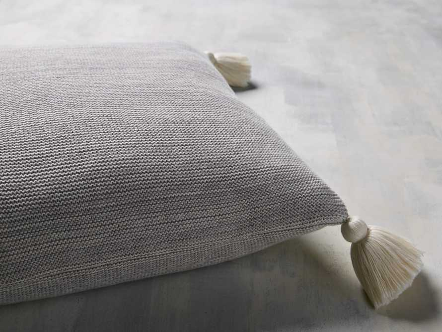 Knit Pom Pom Pillow in Marled Grey, slide 3 of 3