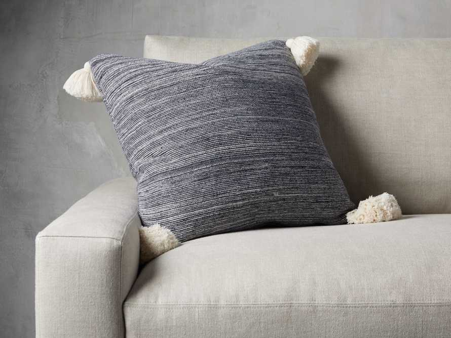 MARLED KNIT POM POM  SQUARE  PILLOW COVER IN NAVY, slide 2 of 3