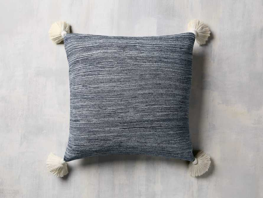 MARLED KNIT POM POM  SQUARE  PILLOW COVER IN NAVY, slide 1 of 3
