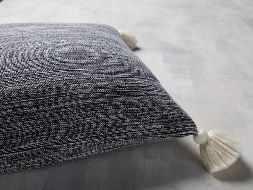 MARLED KNIT POM POM  SQUARE  PILLOW COVER IN NAVY, slide 3 of 3