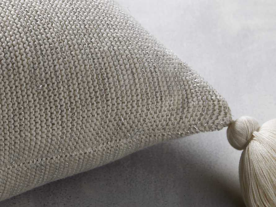 Metallic Knit Pillow in Silver
