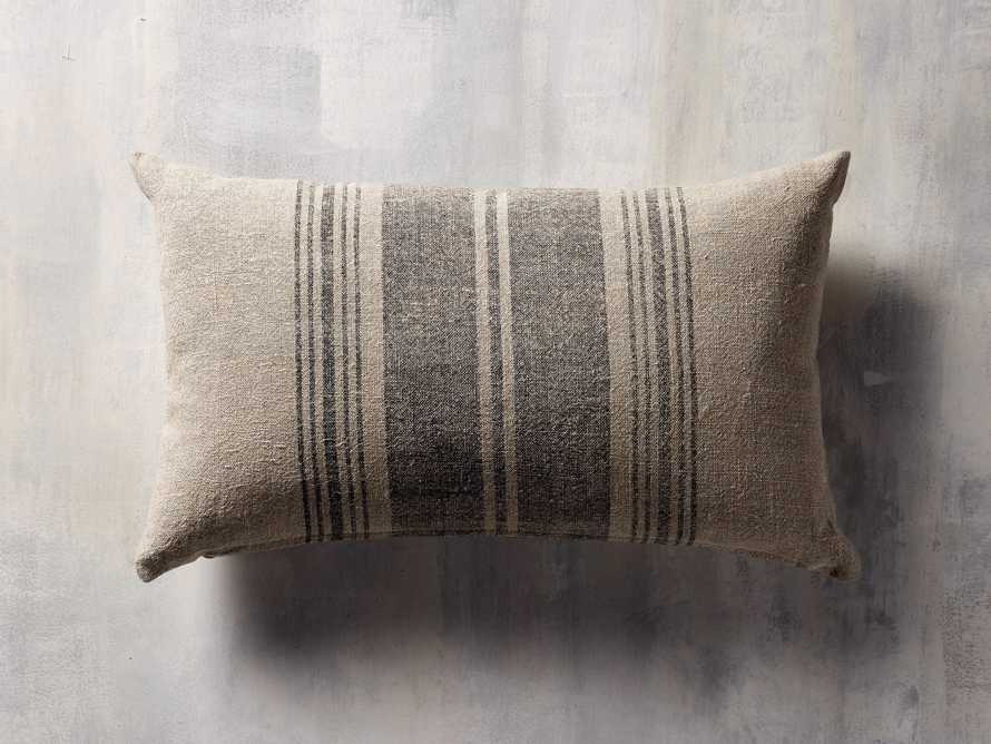 """French Stripe 24"""" Lumbar Pillow in Natural and Indigo Cover Only"""