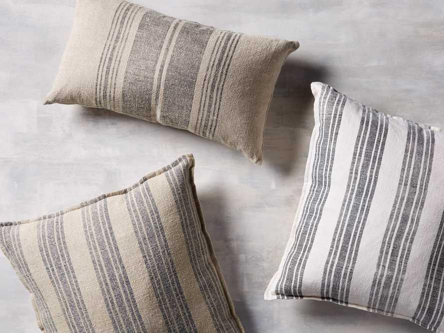 "French Stripe 24"" Lumbar Pillow in Natural and Indigo"