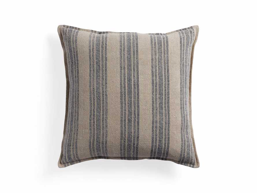 "French Stripe 22"" Pillow in Natural and Indigo"