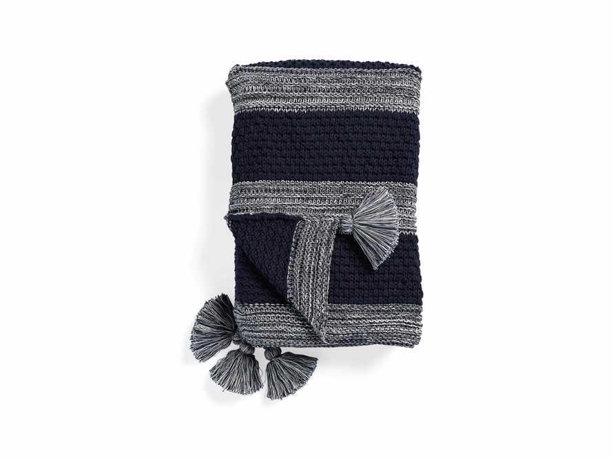 """Striped Knit 50"""" Pom Pom Throw"""