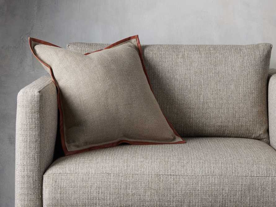 Linen Faux Leather Trim Pillow in Persimmon