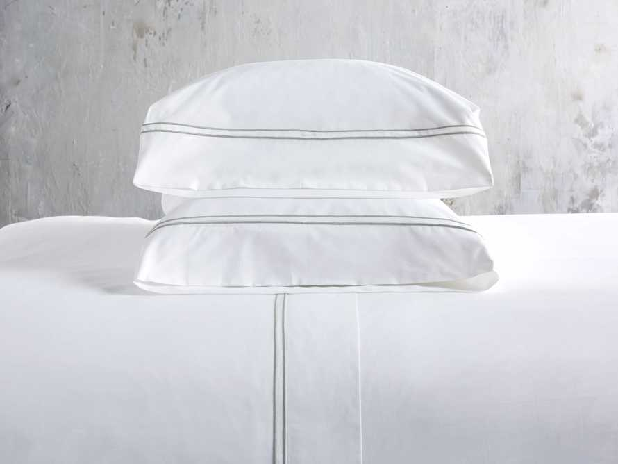 Queen Italian Embroidered Percale Sheet Set in Celadon