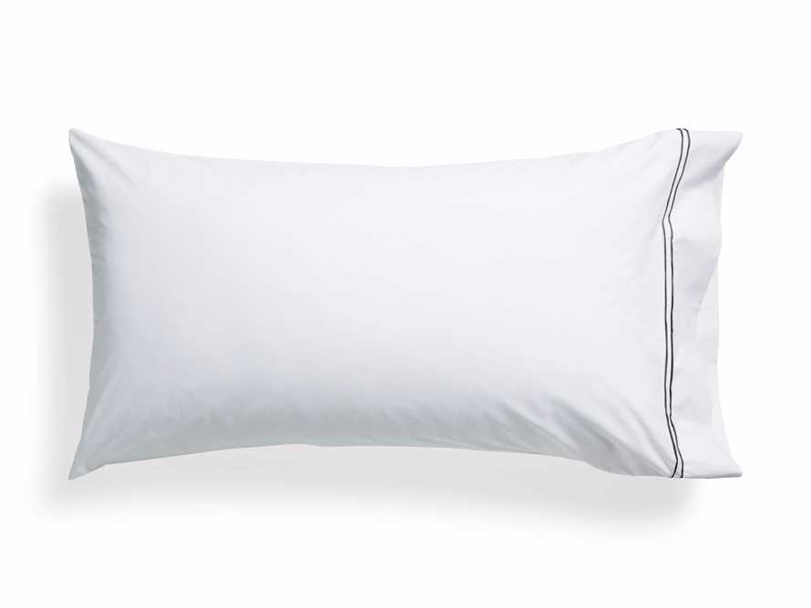 King Italian Embroidered Percale Pillow Case in Charcoal