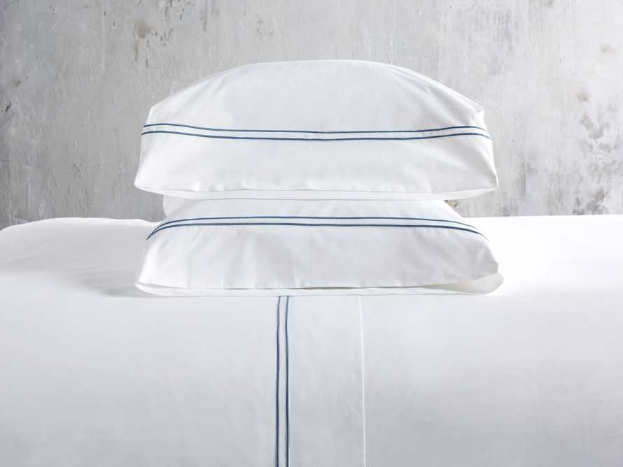 Standard Italian Embroidered Percale Pillow Case in Denim, slide 1 of 3