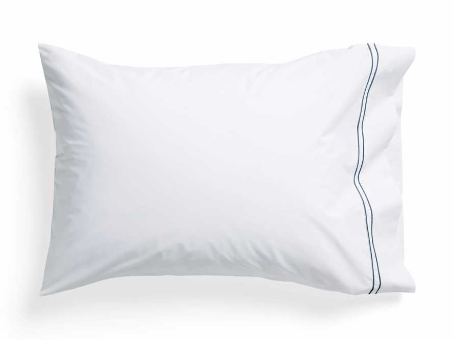 Standard Italian Embroidered Percale Pillow Case in Denim, slide 2 of 3