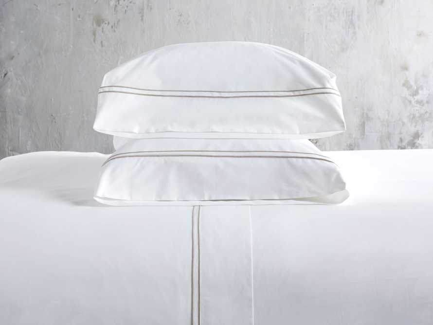 Queen Italian Embroidered Percale Sheet Set in Natural