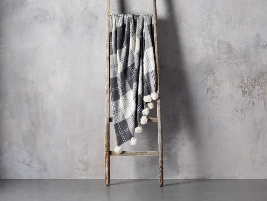 Plaid Throw with Faux Fur Pom Poms in Grey, slide 2 of 4