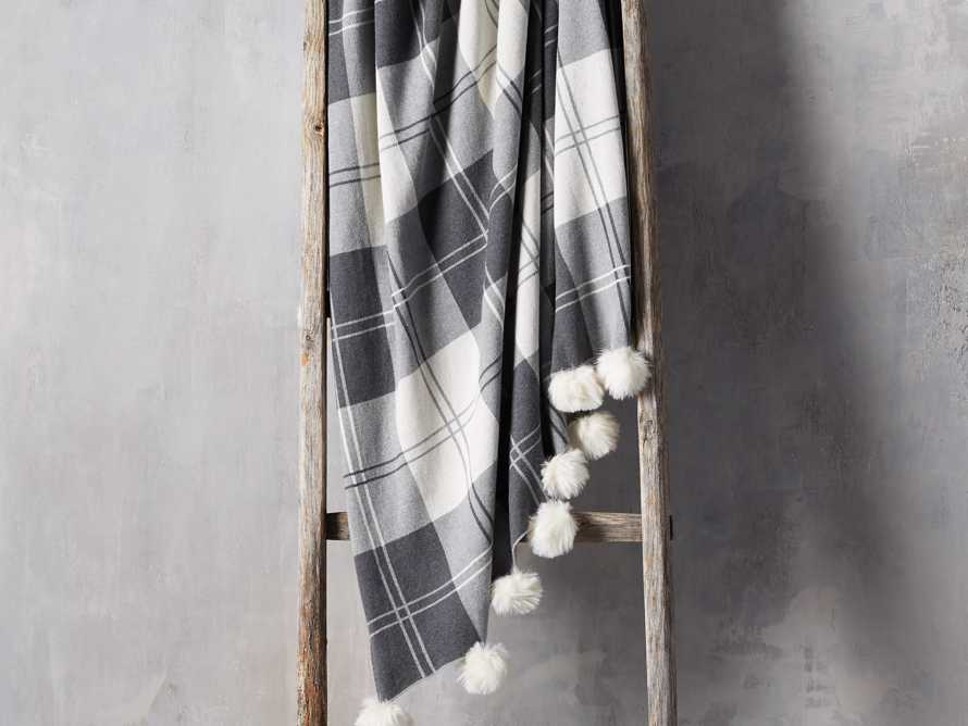 Plaid Throw with Faux Fur Pom Poms in Grey, slide 1 of 4