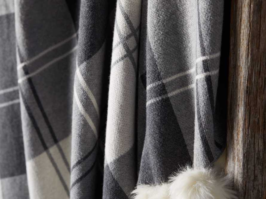 Plaid Throw with Faux Fur Pom Poms in Grey, slide 4 of 4