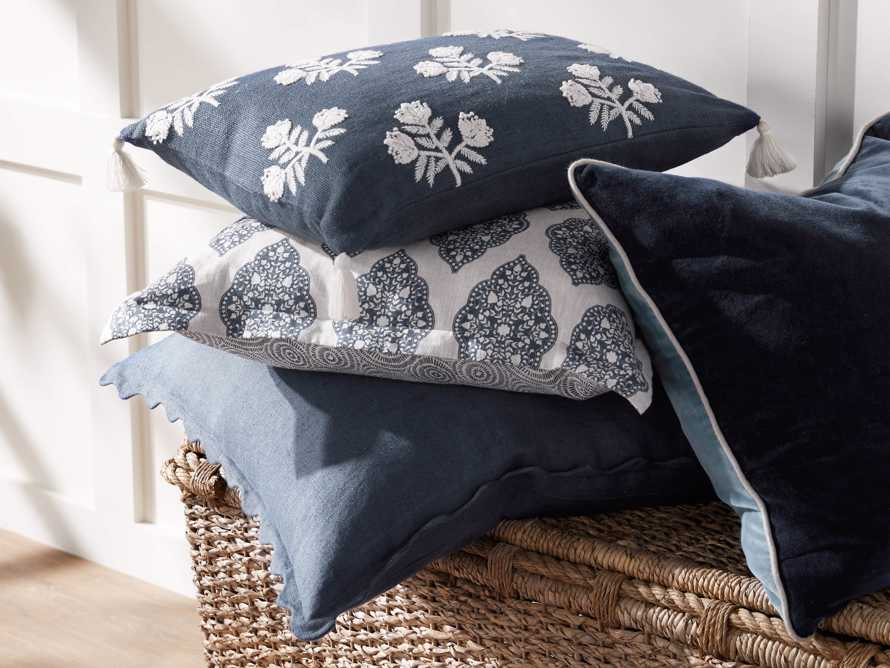Reversible Velvet Pillow in Blue, slide 6 of 7