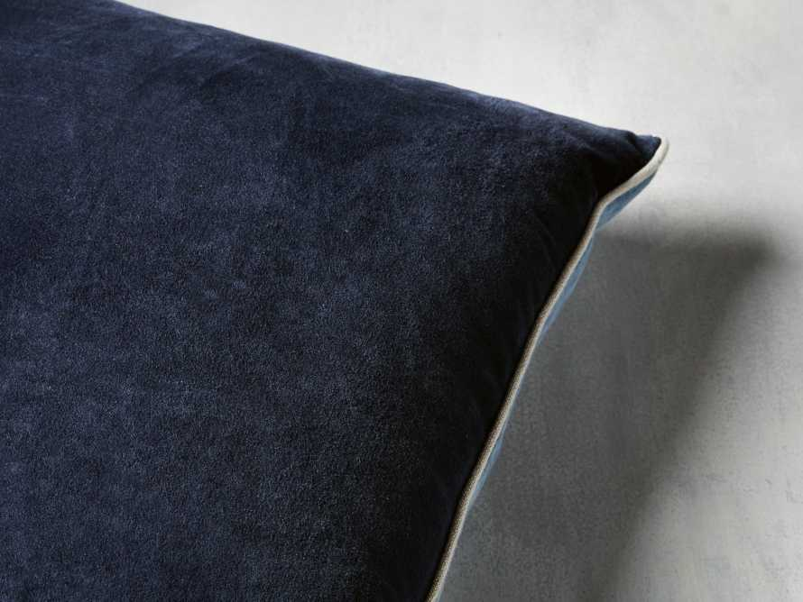 Reversible Velvet Pillow in Blue, slide 2 of 7